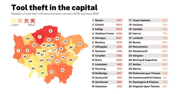 Number of van thefts in London